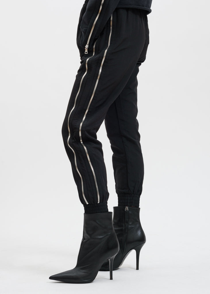 Black Sporte Double Zip Track Pant
