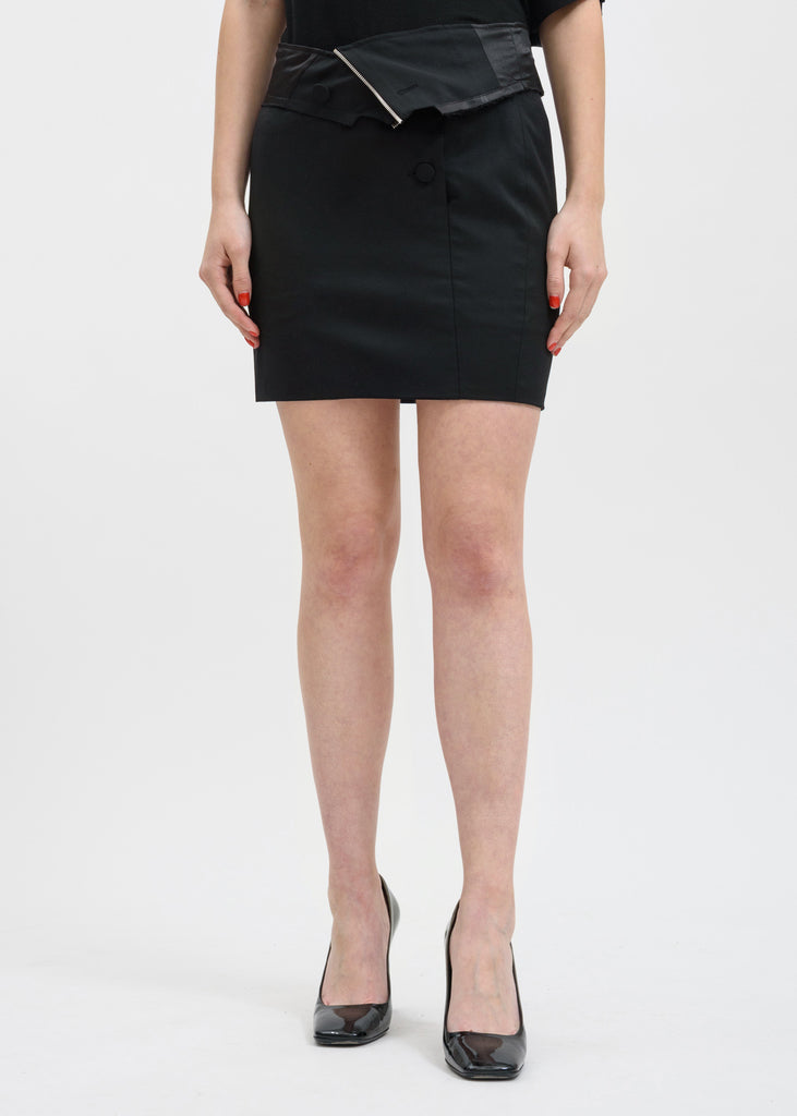 Black Zandra Suiting Mini Skirt