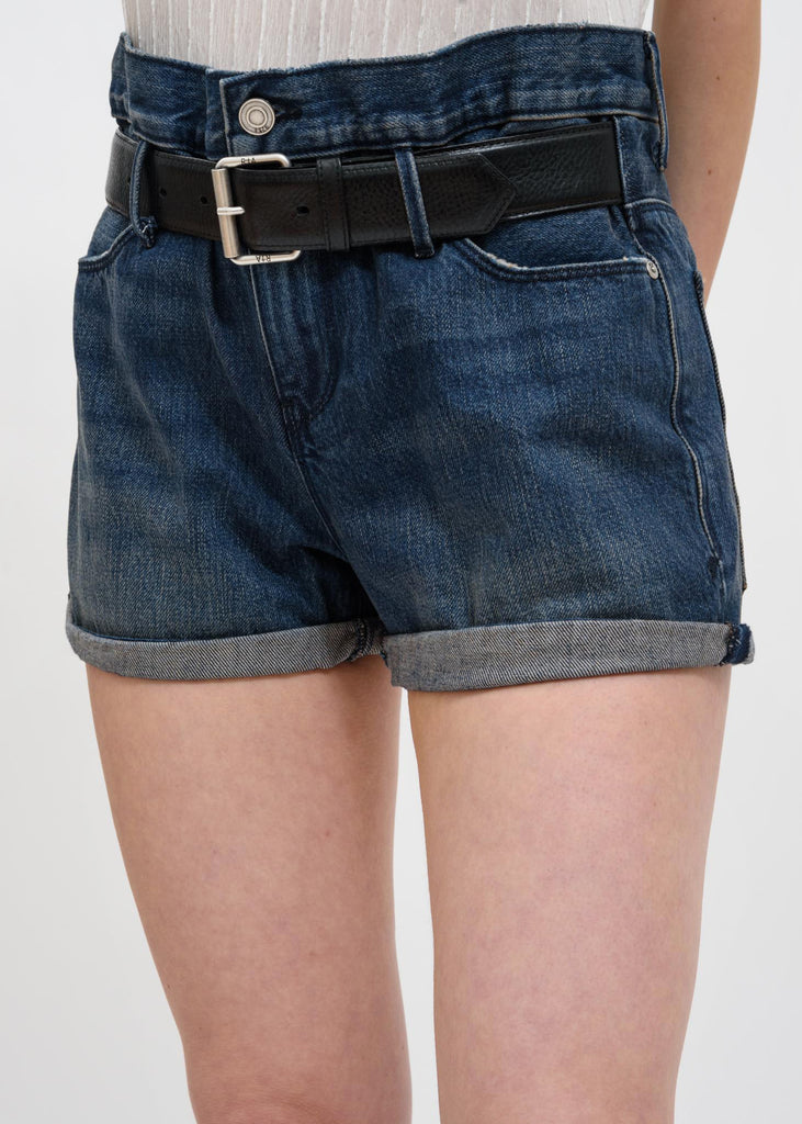 Blue Pierce Belted Baggy Shorts