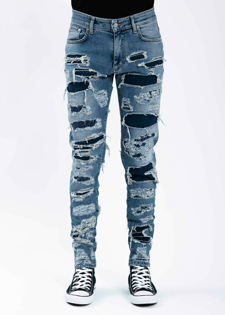 Indigo Shredded Denim Jeans