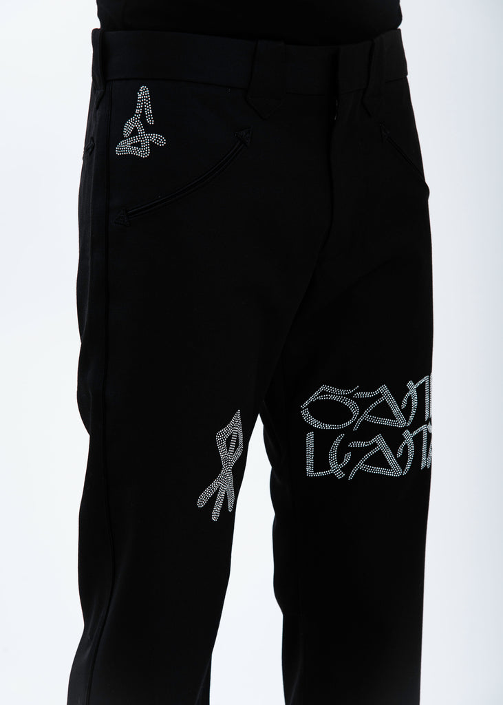 Black Wool Graffiti Trousers