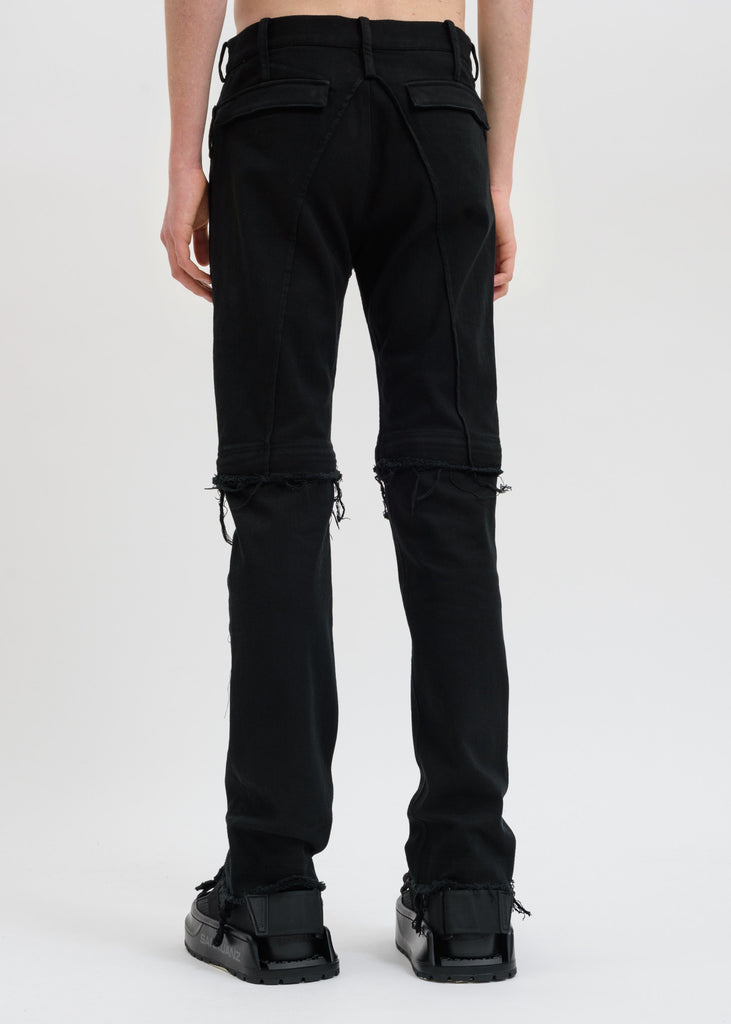 Black Distressed Western Jeans