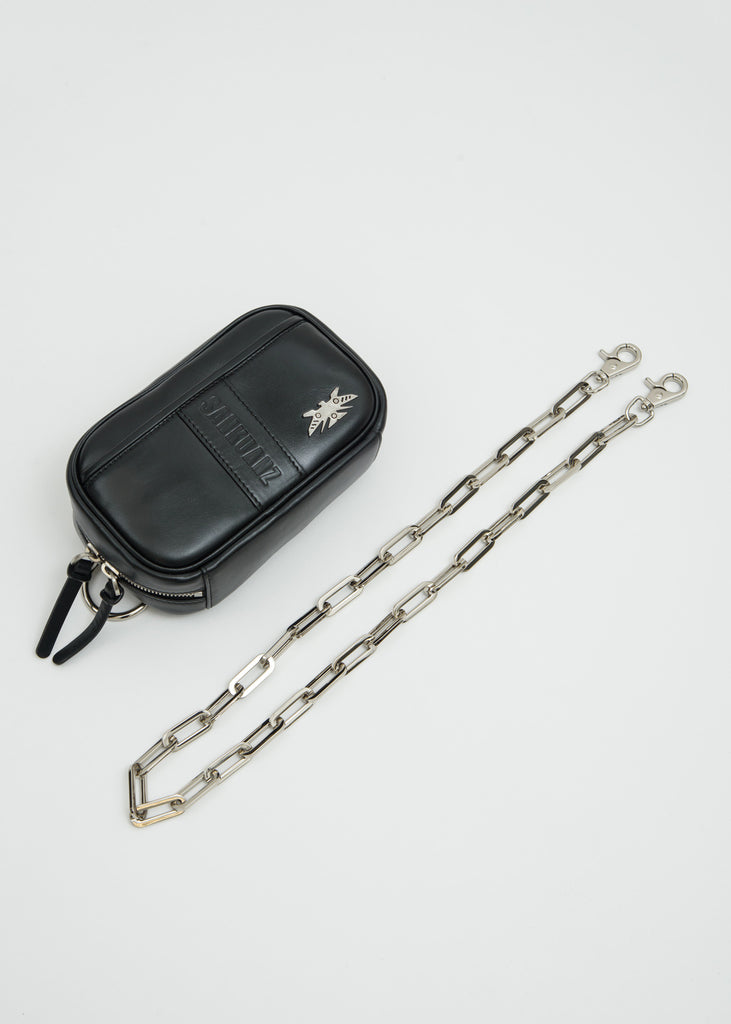 Black Leather Chain Pouch