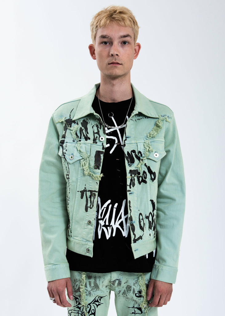 Green Graffiti Denim Jacket