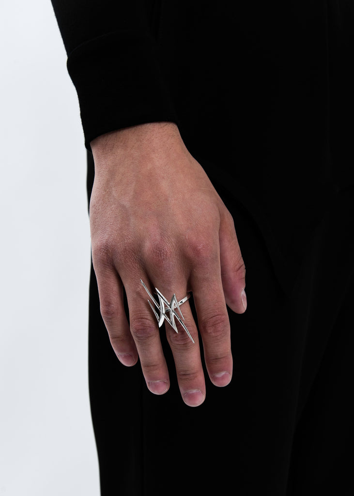 Silver Spike Logo Ring