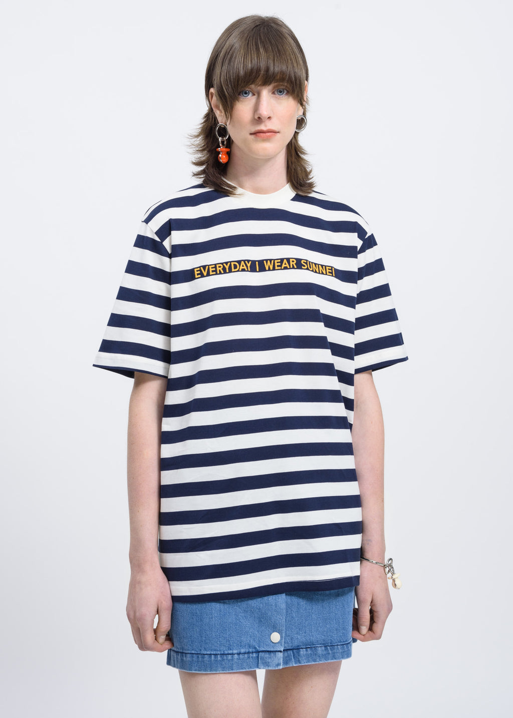 Blue Stripes T-Shirt w/ Embroidery EIWS