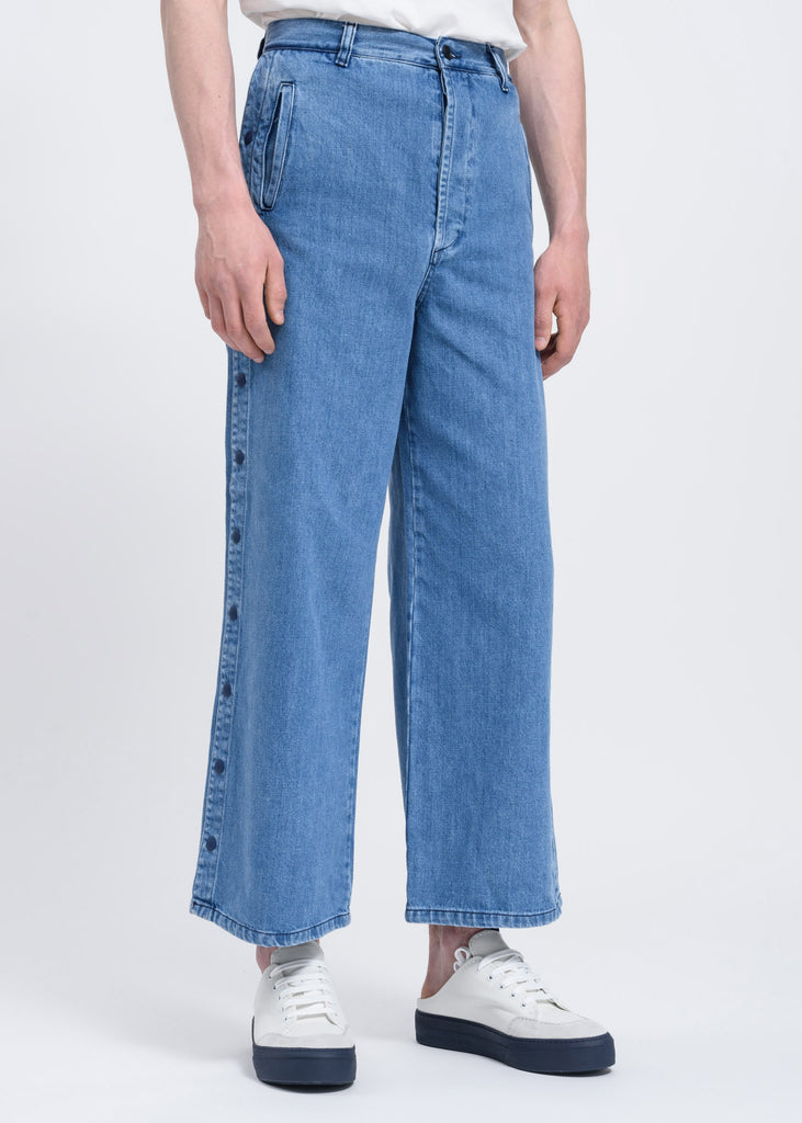Washed Denim Loose Pants