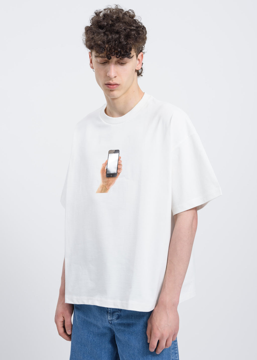 White Over T-Shirt w/ iPhone Print