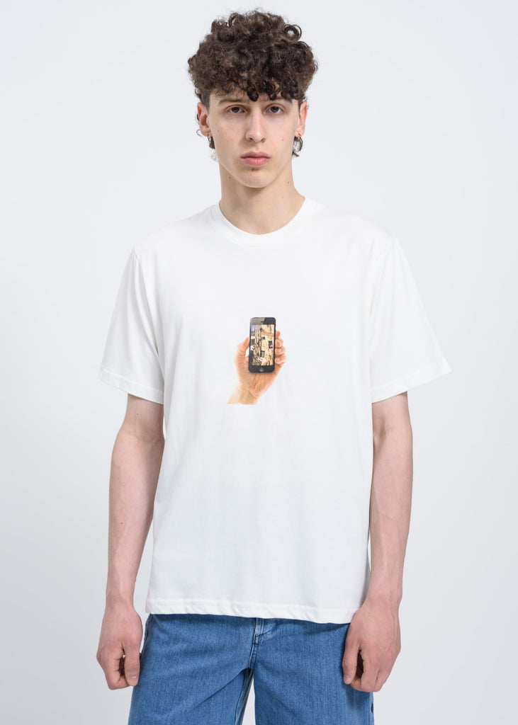 White T-Shirt w/ iPhone Print