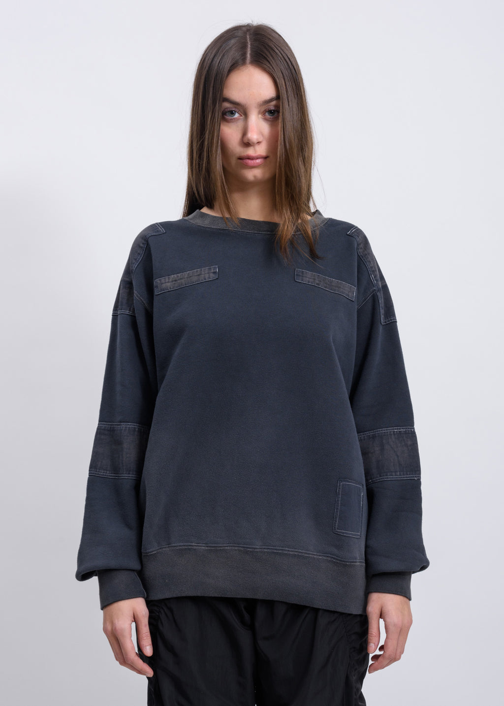 Black Bleach Patchwork Sweater