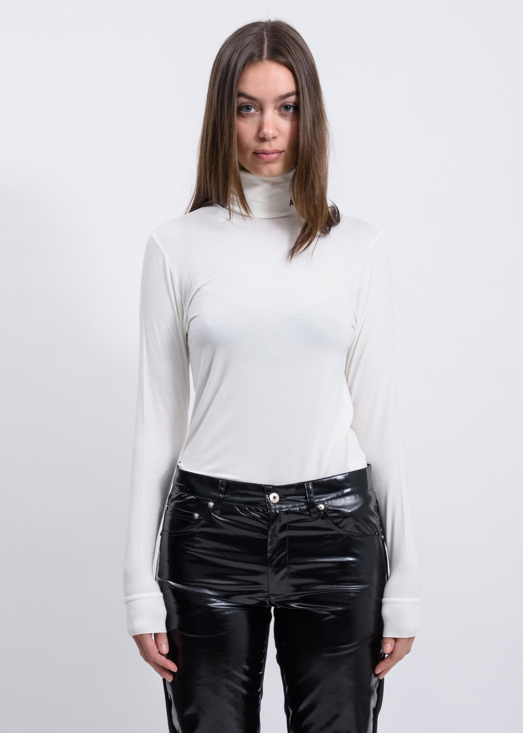 White A Logo Turtleneck Long Sleeve