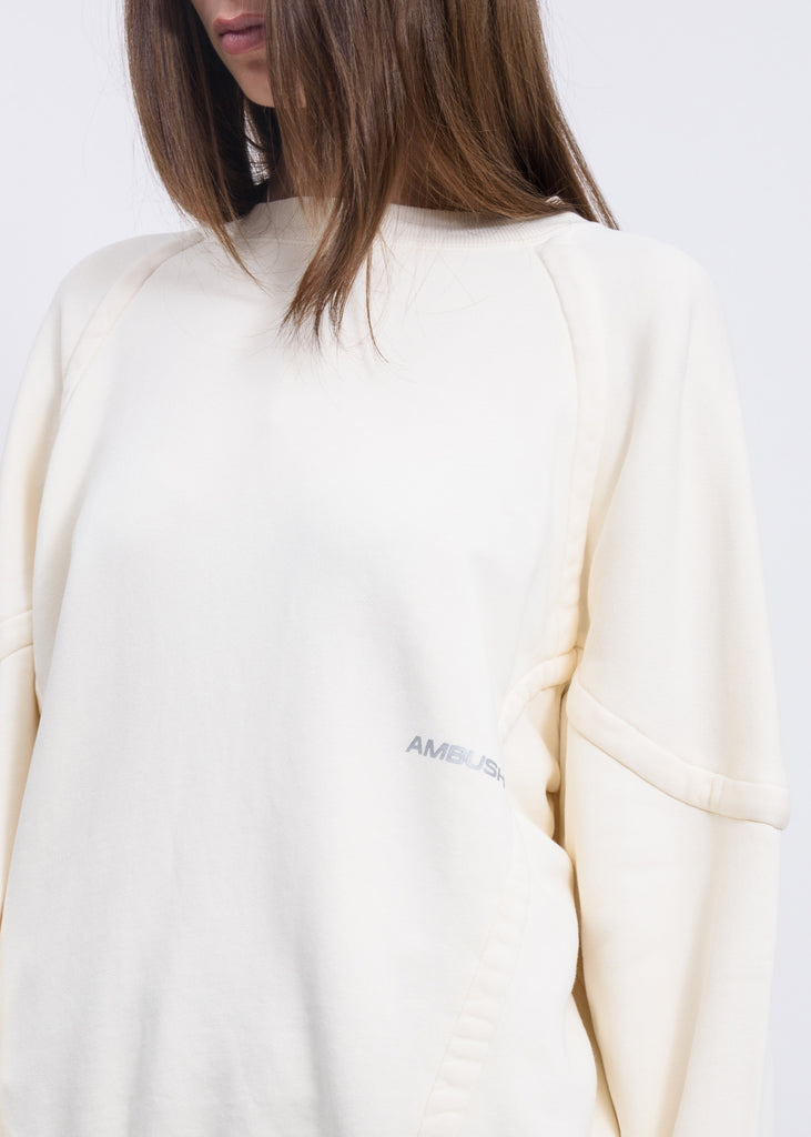 White Wide Piping Sweater