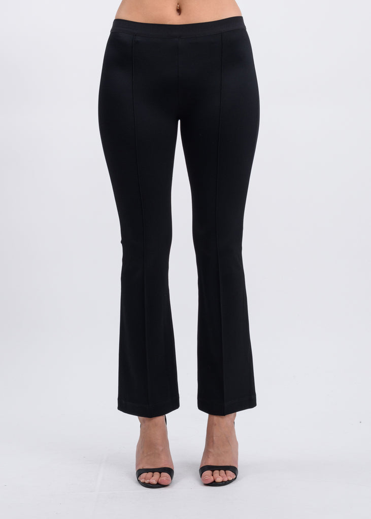 Black Cropped Flare Rib Leggings