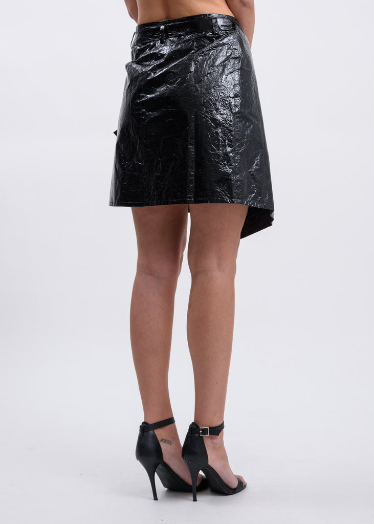 Black Mylar Wrap Skirt