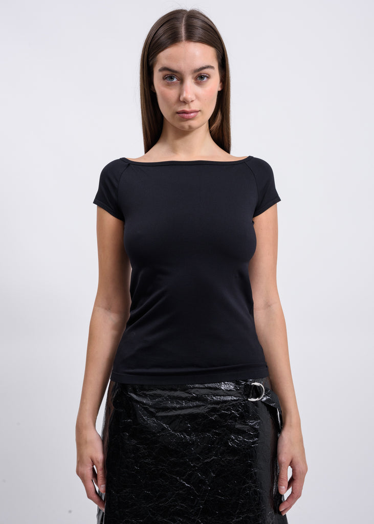 Black Open Boat Neck T-Shirt