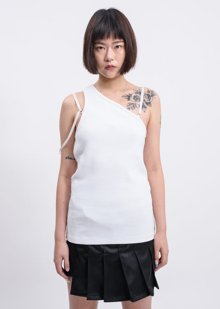 Chalk White Femme One Shoulder Top