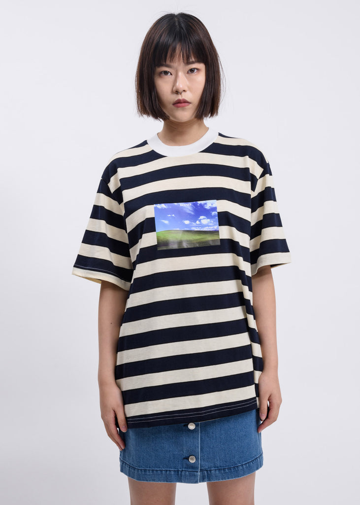 Beige And Blue Stripes Bless Print T-shirt