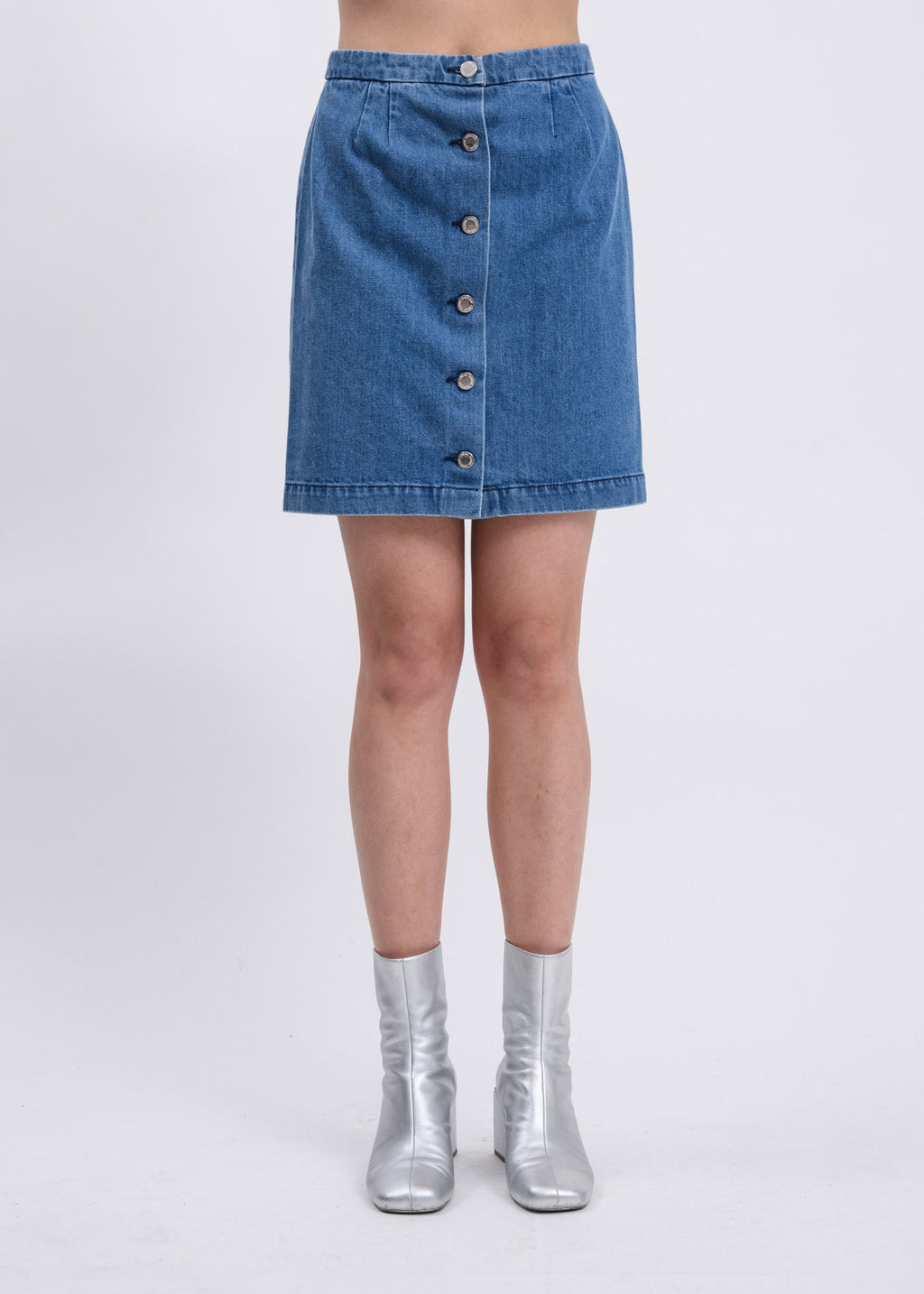 Blue Washed Denim Mini Skirt