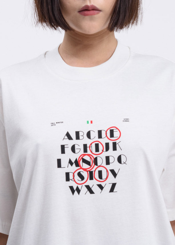 White Alphabet Print T-Shirt