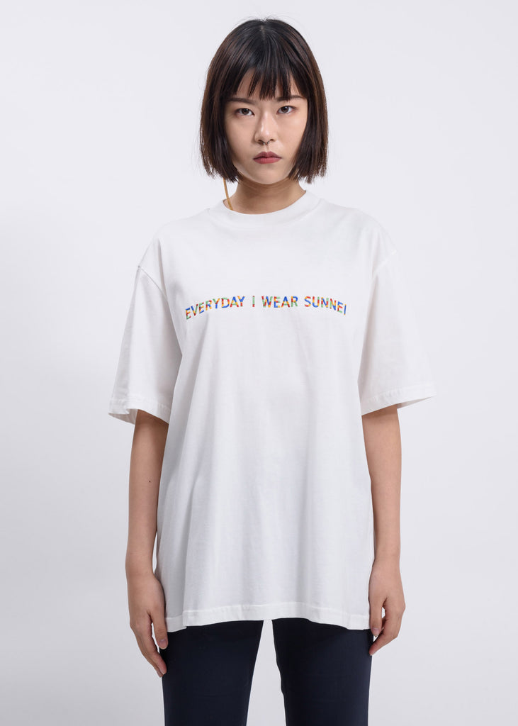 White 'Everyday I Wear Sunnei' T-Shirt