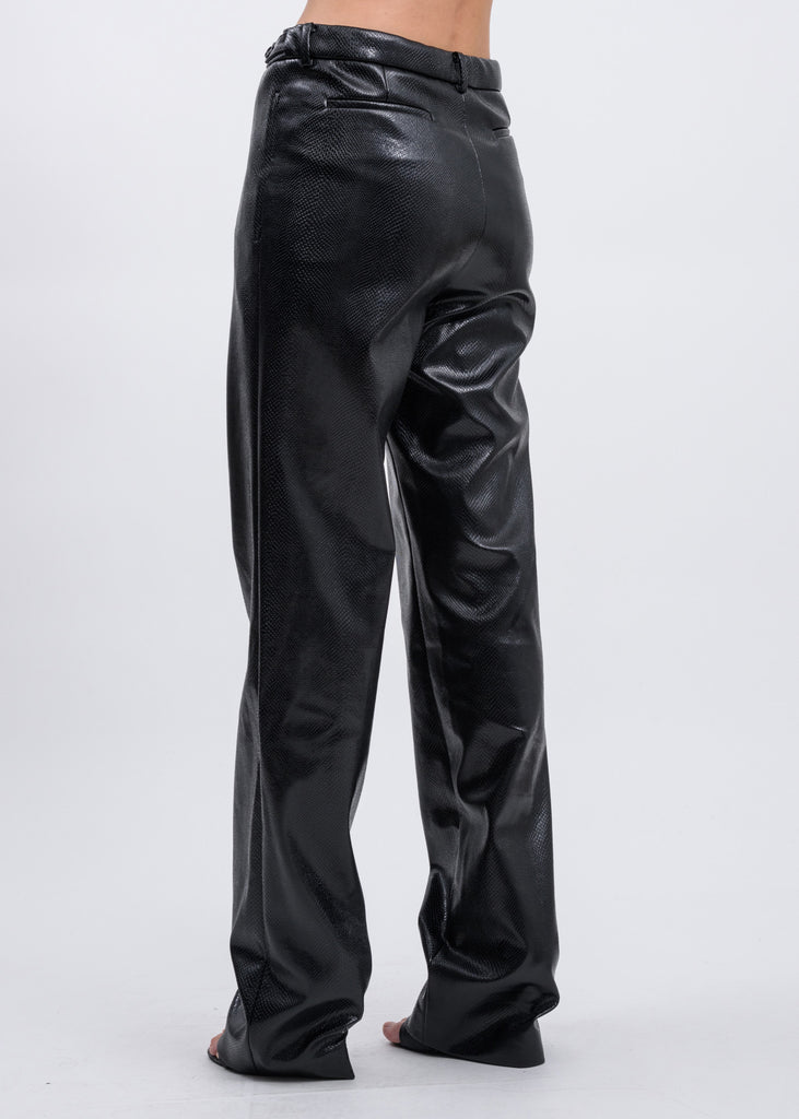 Black Python Faux Leather Trousers