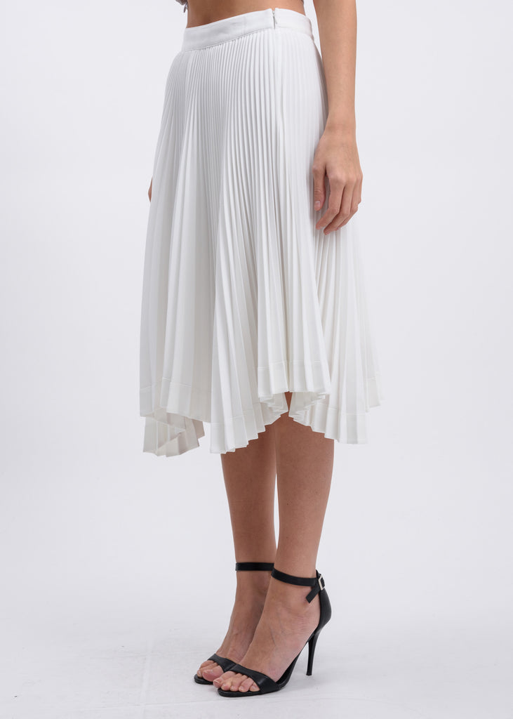Ivory Accordion Asymmetry Skirt