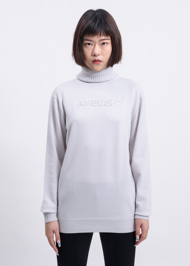 White Embossed Logo Turtleneck