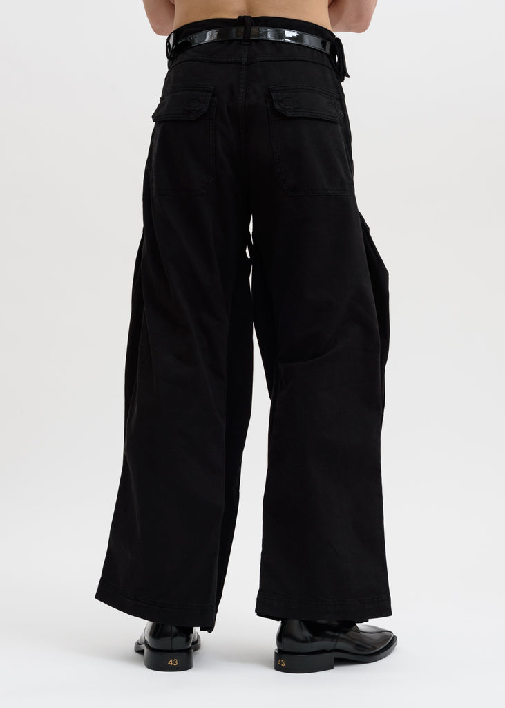 Black Pop Up Leg Trousers
