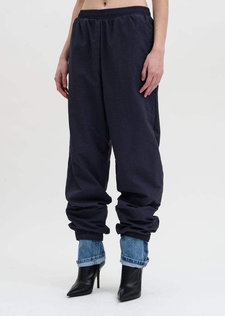 Navy Denim Cuff Track Pants