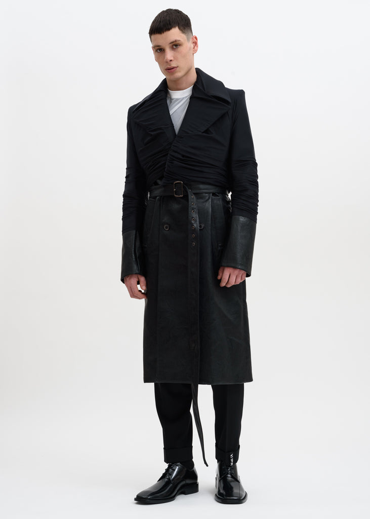 Black Faux Leather Condom Trench Coat