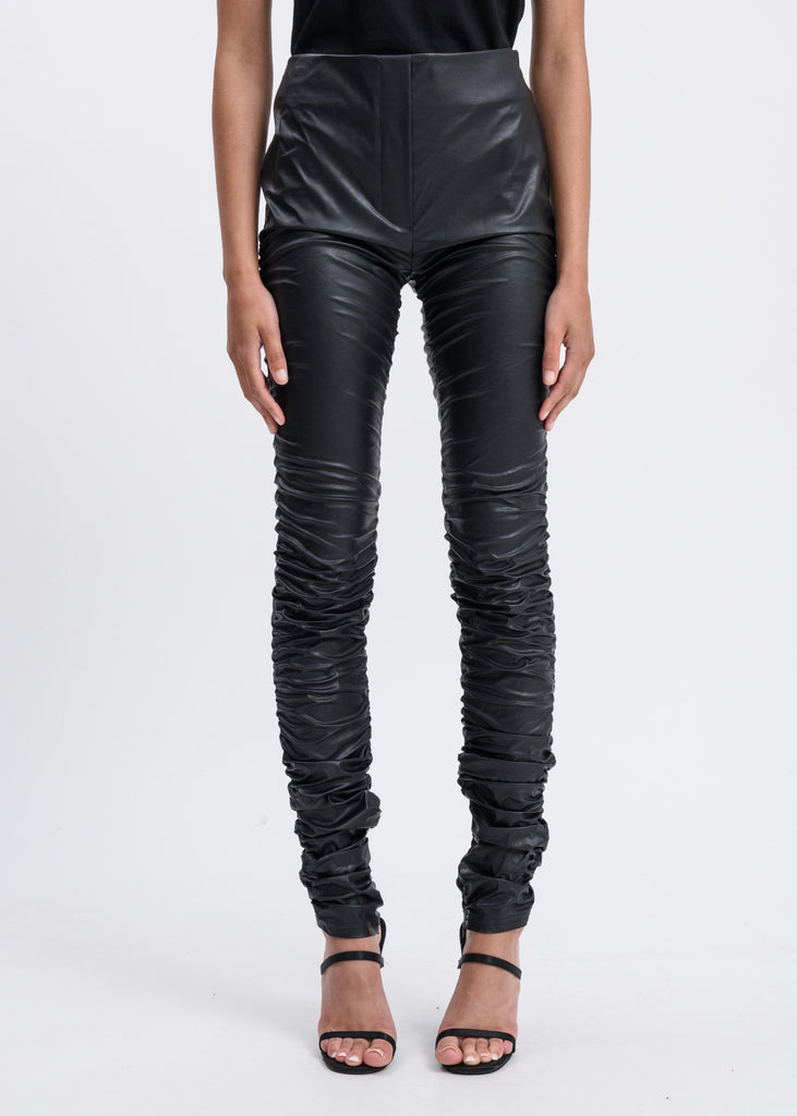 Black Faux Leather Shirred Leggings