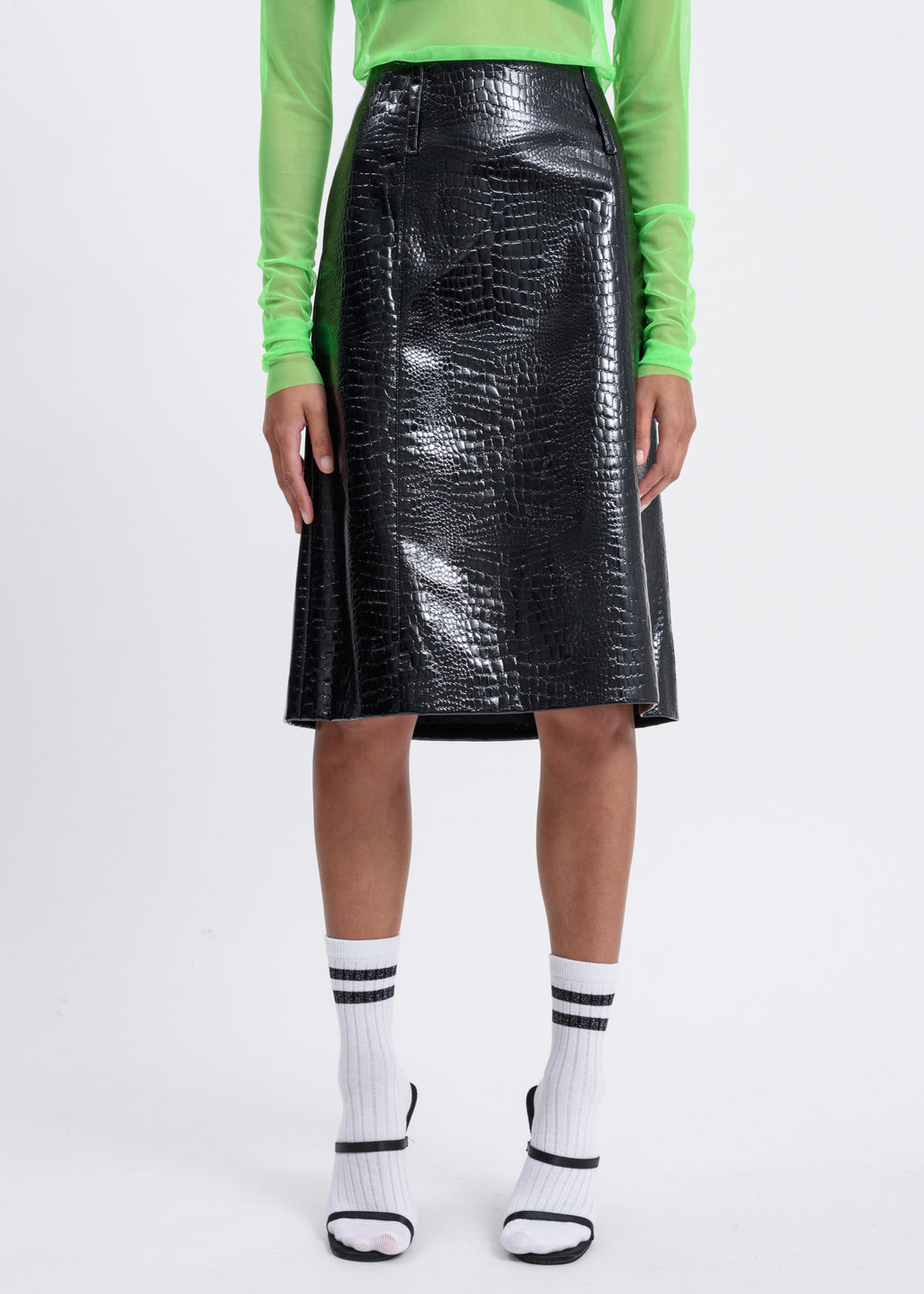 Black Python A-Lined Skirt