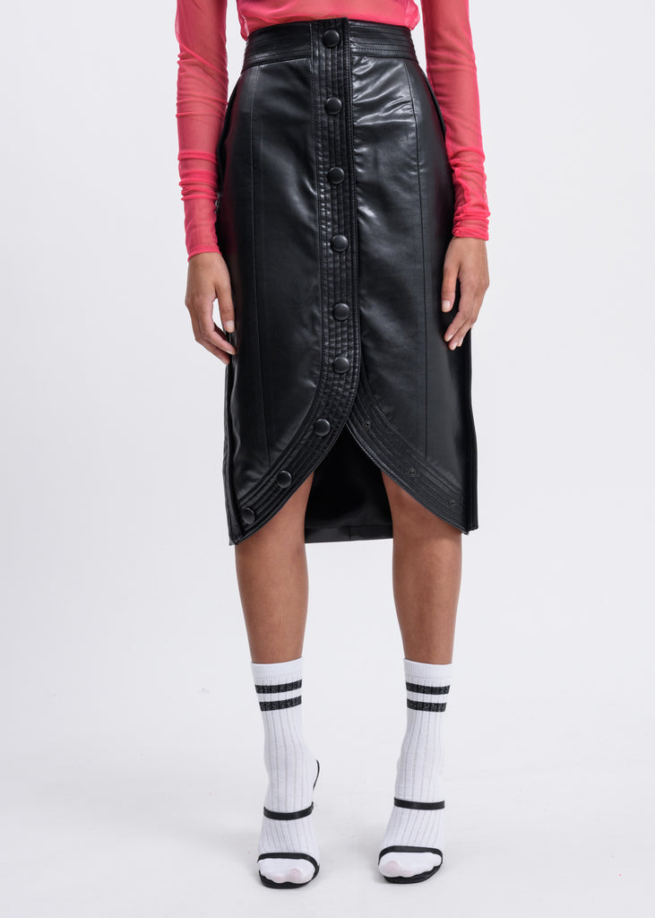 Black Stitched H-Line Skirt