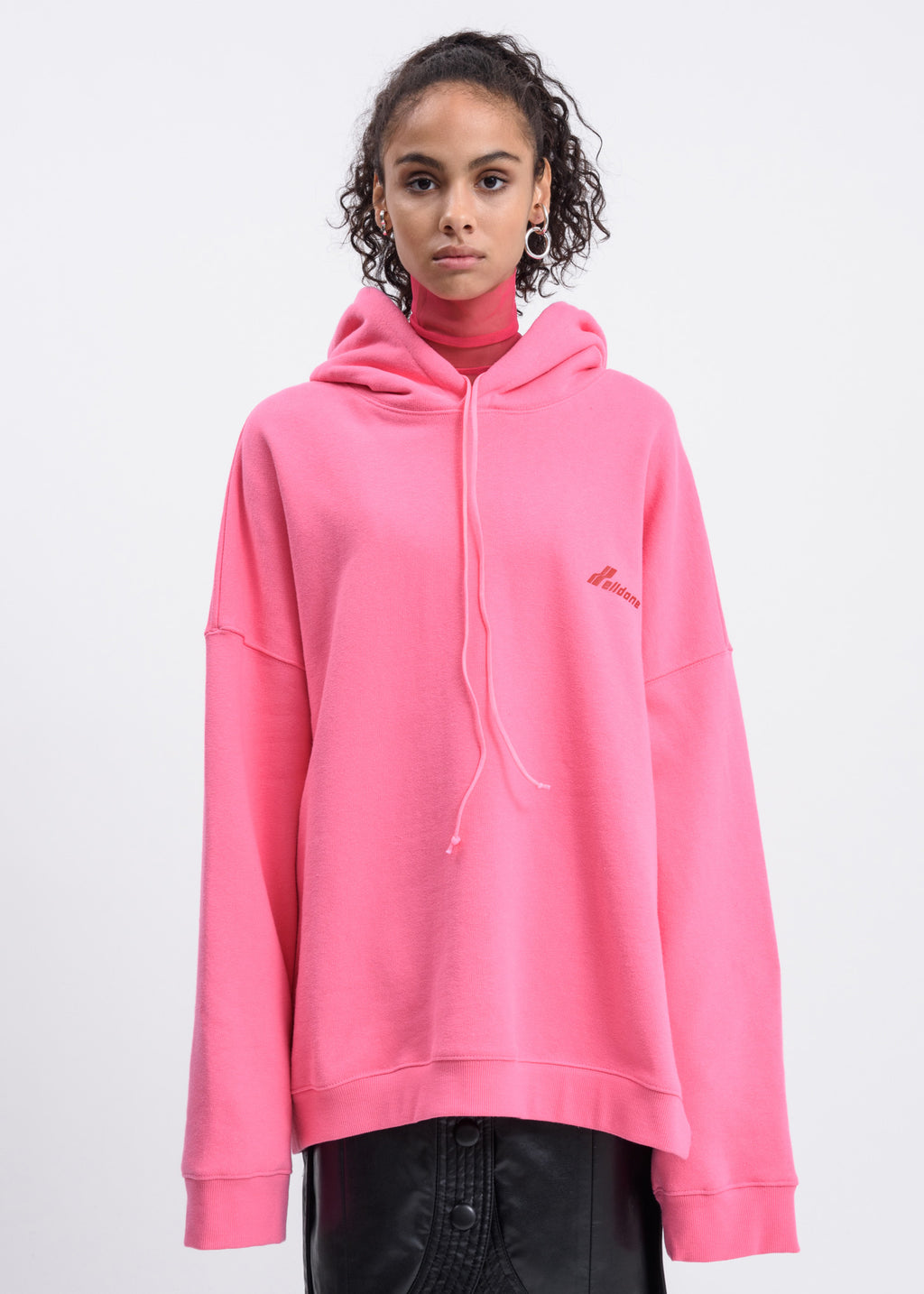Pink Round Cut Out Hoodie
