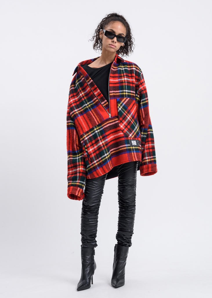 Red English Check Anorak