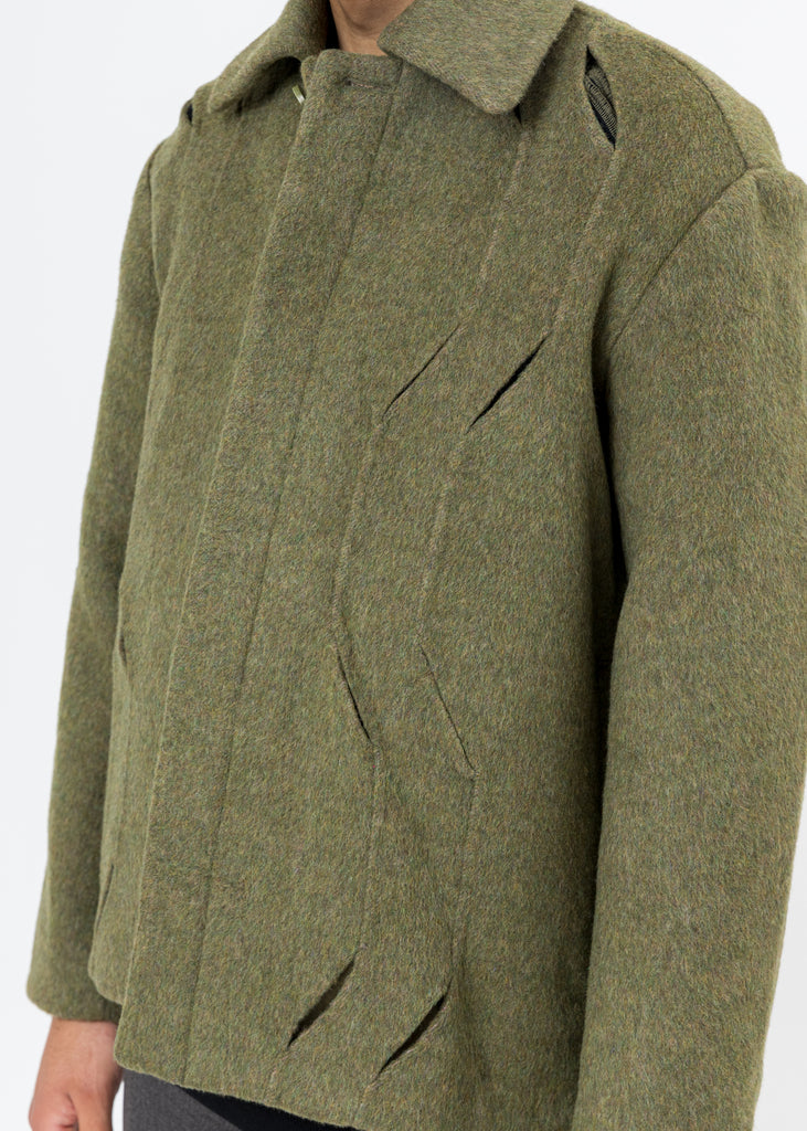 Green Wool Cut-Out Jacket