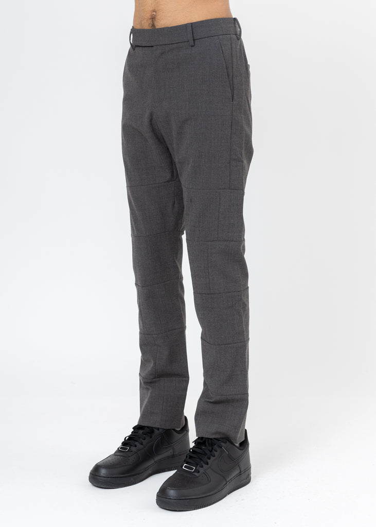 Grey Wool Paneled Trousers