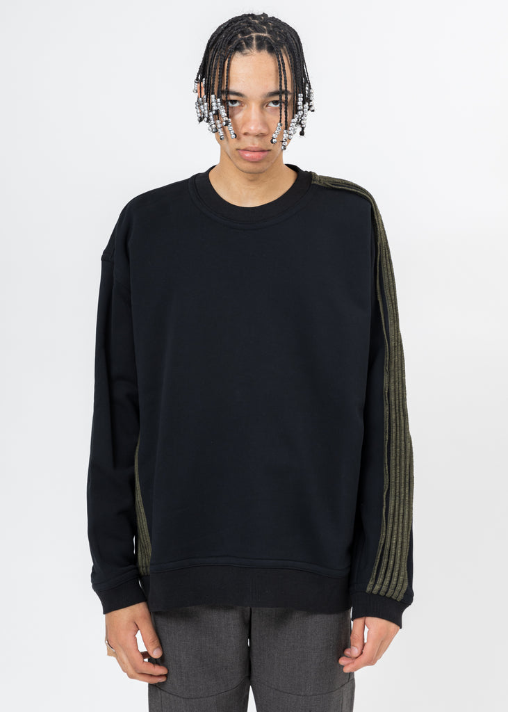 Black Pinched Seams Sweater