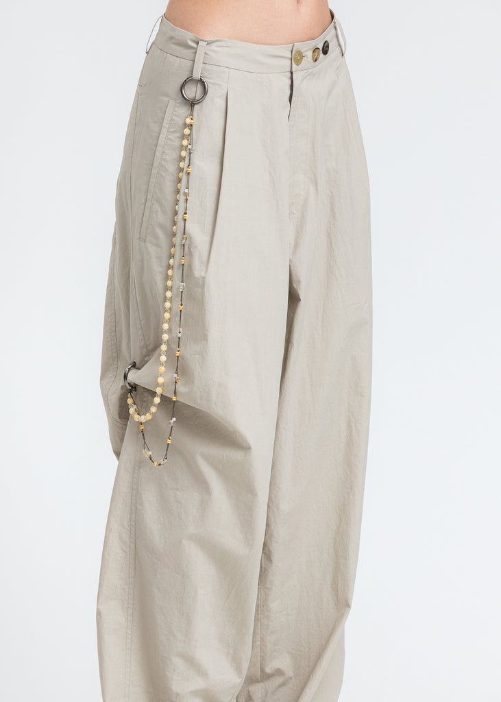 Beige Chained Wide Pants