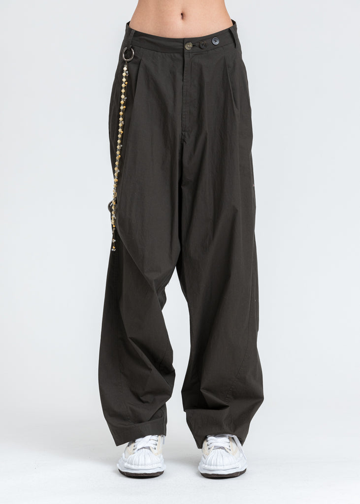 Dark Green Chained Wide Pants