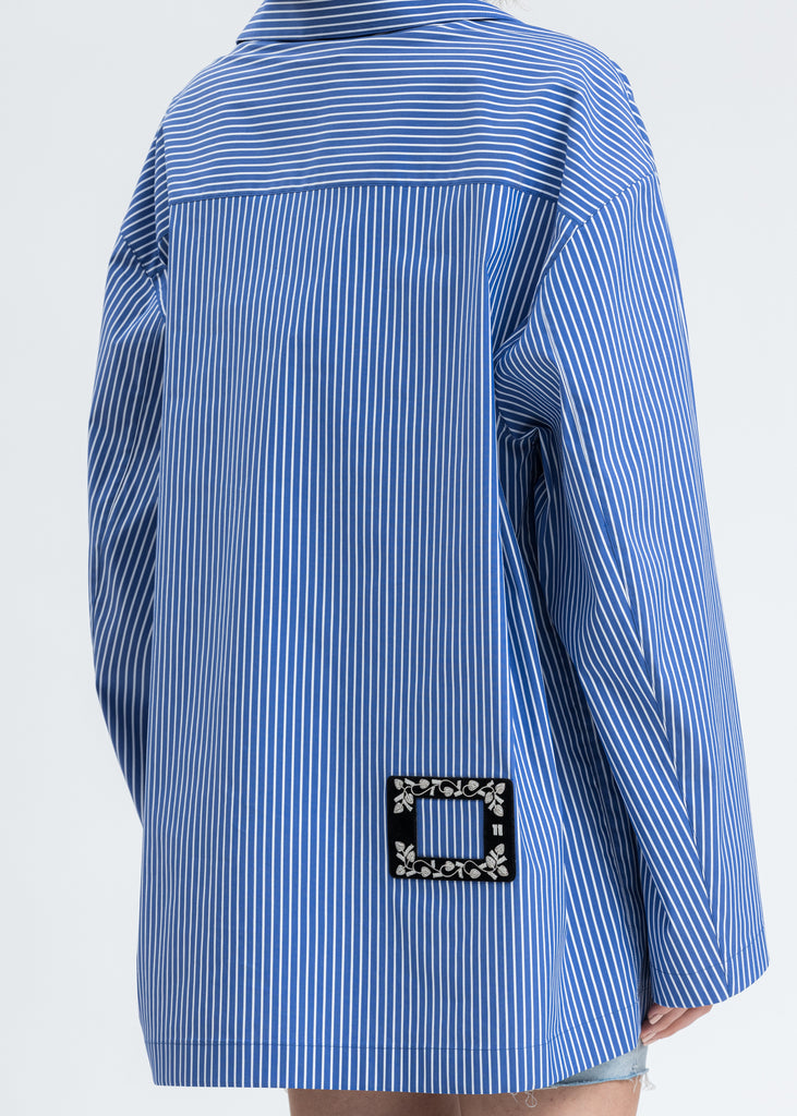 Blue Striped Shell Print Shirt