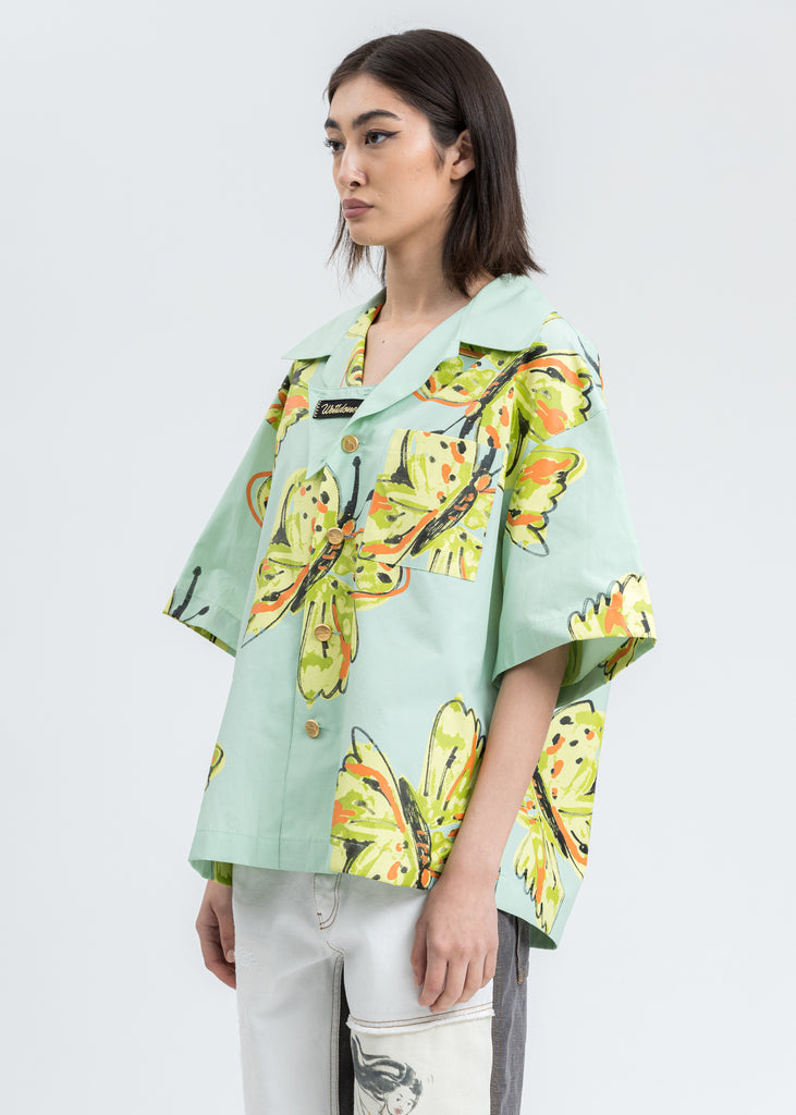 Mint Scribble Butterfly Short Sleeve Shirt