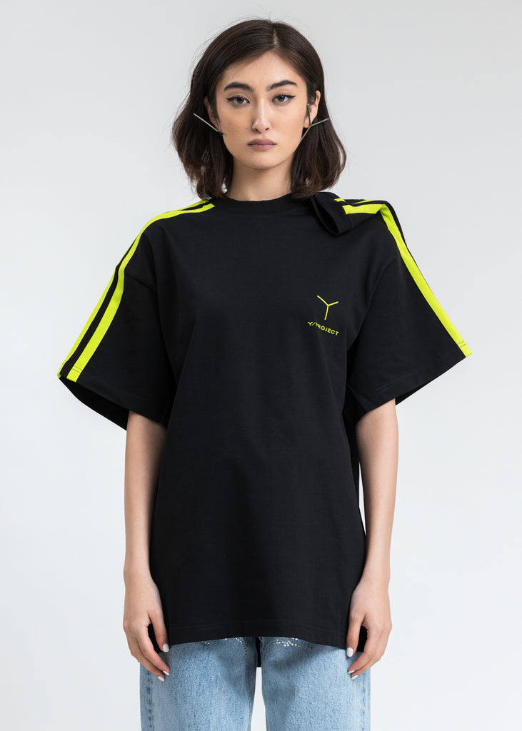 Black And Green Y Logo Clipped Shoulder T-Shirt