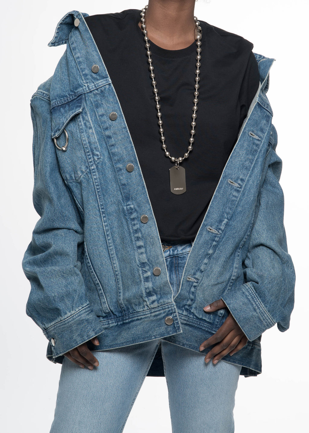 "Ambush, Light Blue ""Stance"" Oversized Denim Jacket, 017 Shop"
