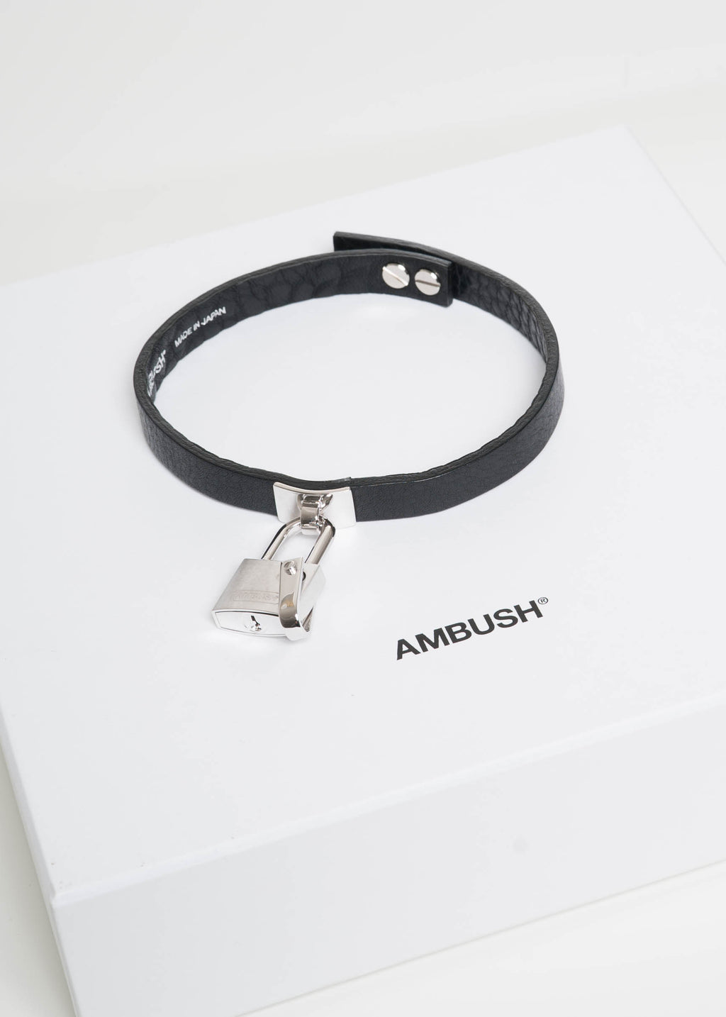 Silver Rebel Padlock Leather Choker