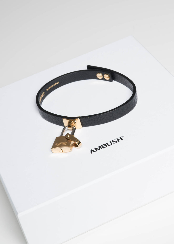 Ambush, Gold Rebel Padlock Leather Choker, 017 Shop