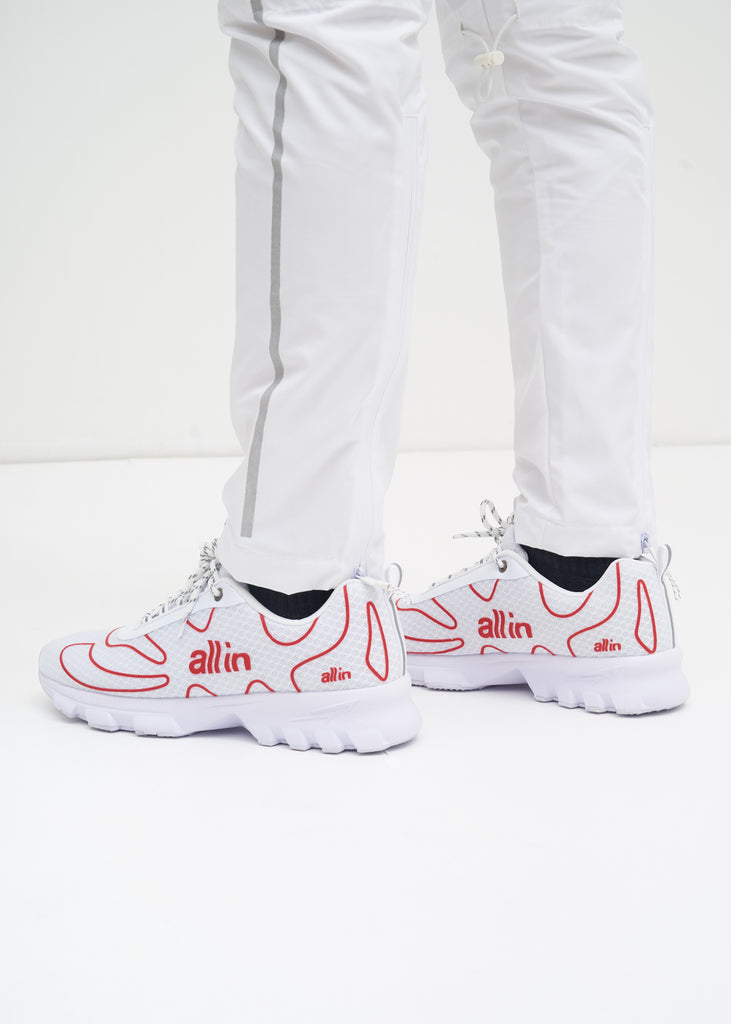 all in, White and Red Tennis Shoes, 017 Shop