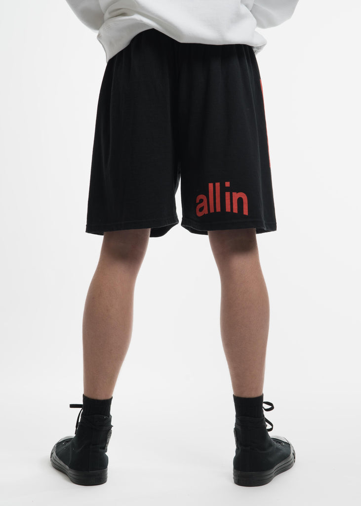all in, Black Champion Edition Arc Logo Shorts, 017 Shop