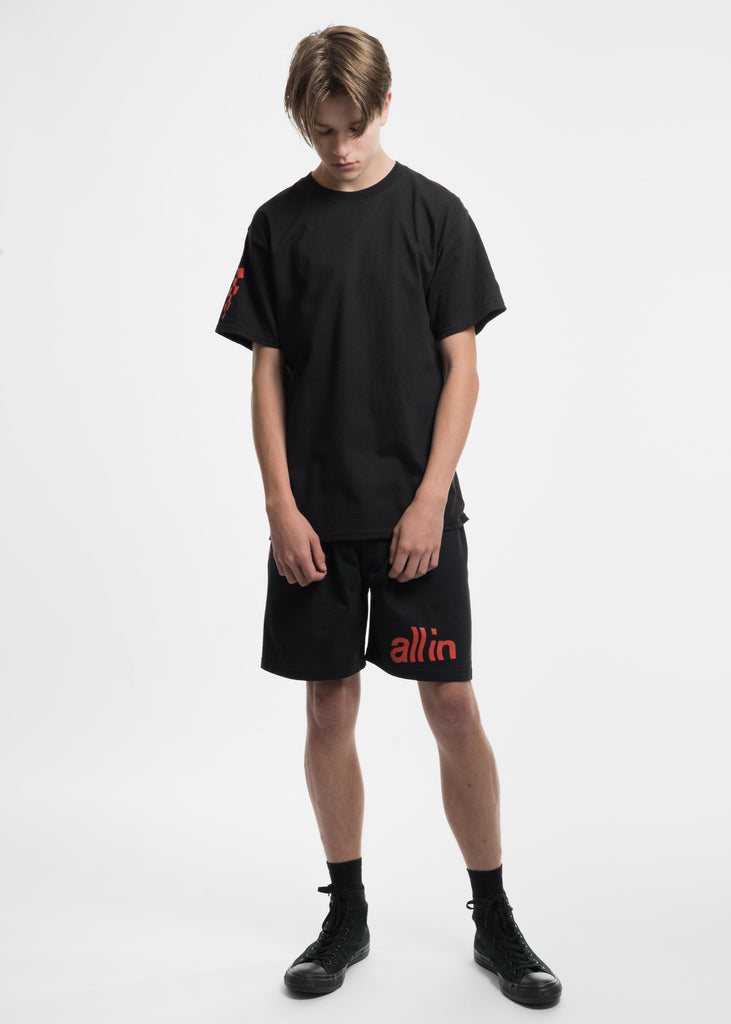 all in, Black Champion Edition Wavy Logo T-Shirt, 017 Shop