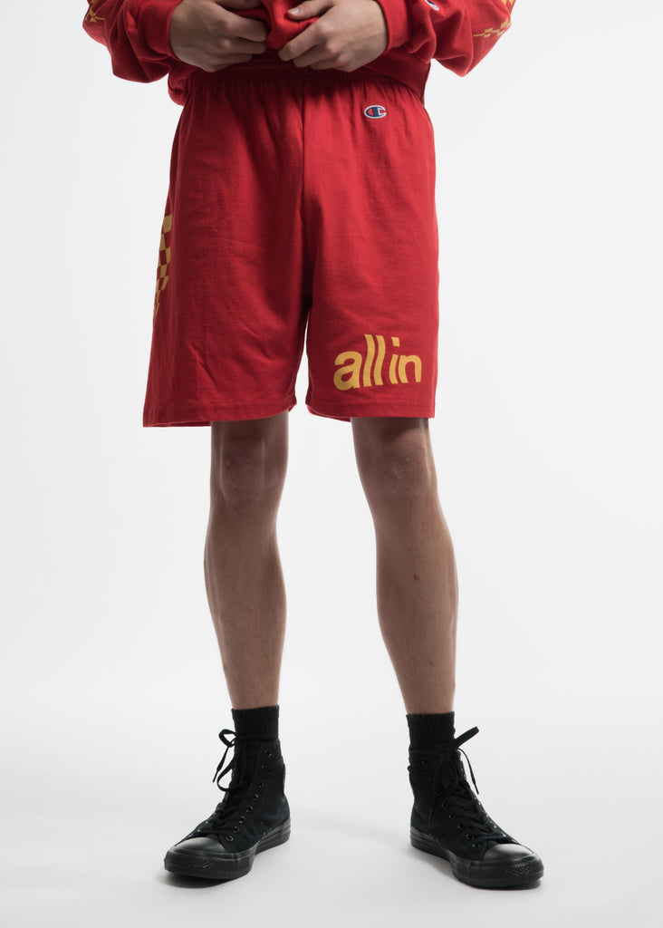 Red Champion Edition Wavy Logo Shorts
